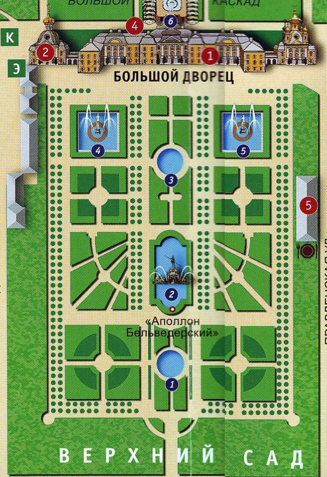 Петергоф, карта-план парка и
